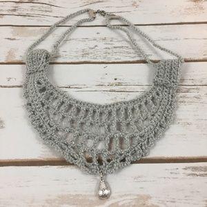 Choker Necklace Grey Glitter Silver